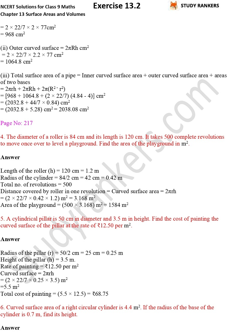 NCERT Solutions for Class 9 Maths Chapter 13 Surface Areas and Volumes Exercise 13.2 Part 2