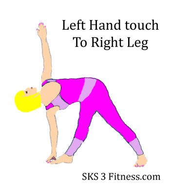 A girl showing Parivratta Trikonasana(Front-View) Left hand touch to Right foot