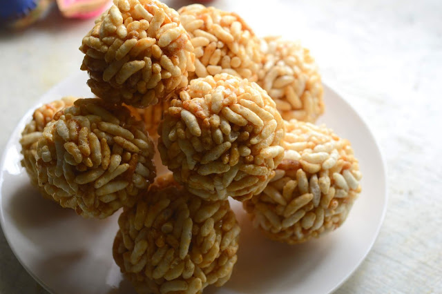 Pori Urundai | Murmura Ladoo | Puffed Rice Balls
