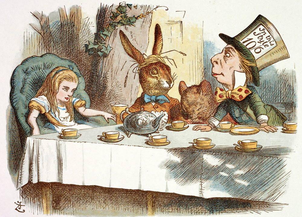 "John Tenniel's illustration of the tea party scene in ""Alice's Adventures in Wonderland"