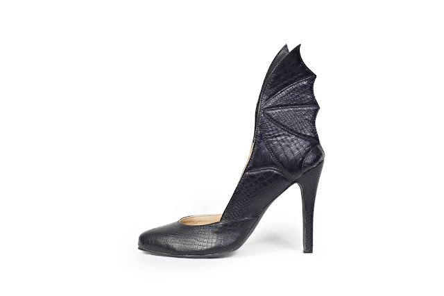 Black High Heeled pumps with dragon wings