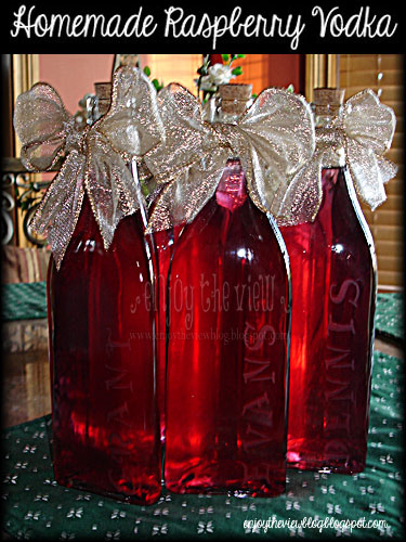bottles of homemade raspberry vodka