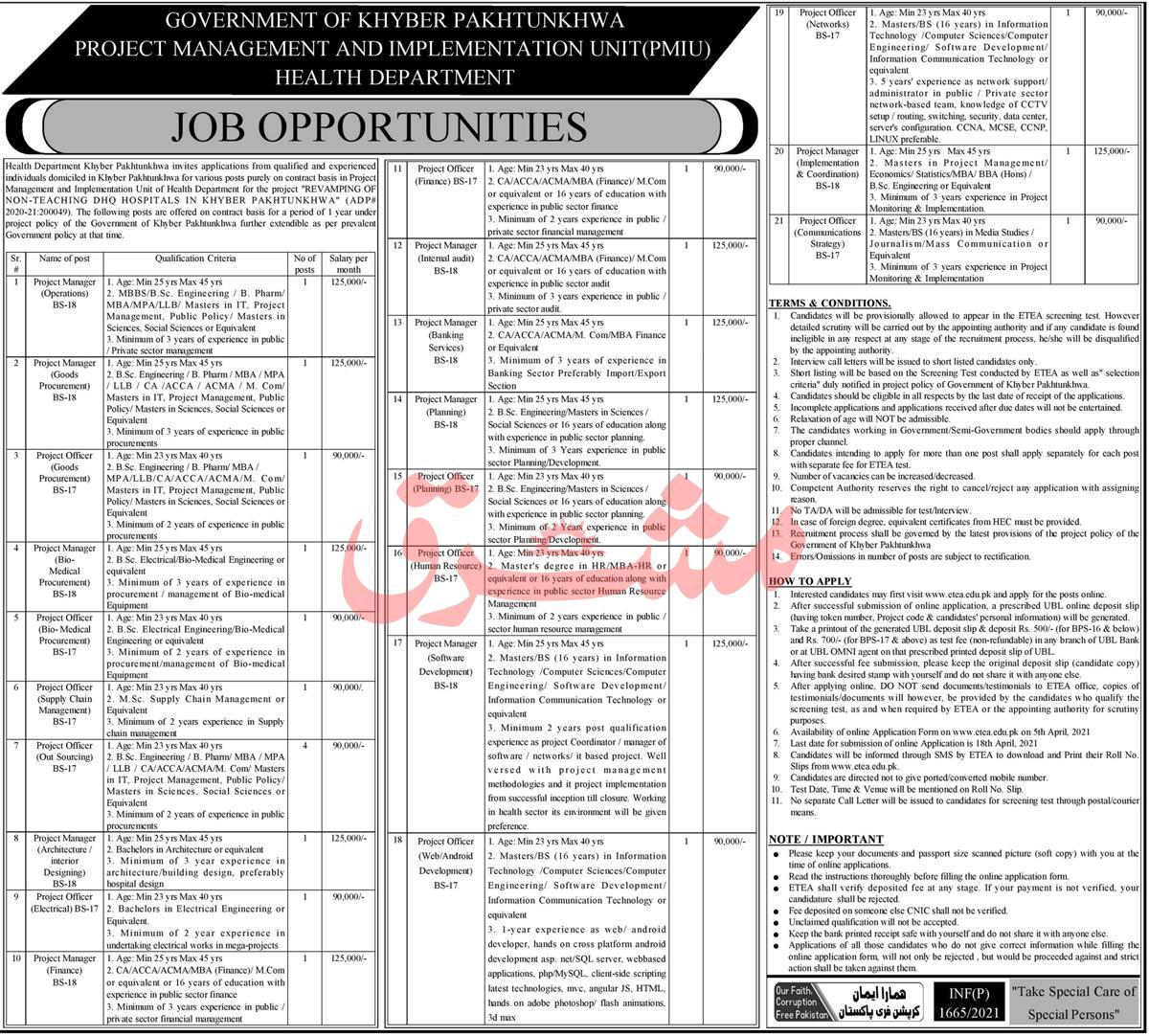 Health Department Jobs April 2021   Apply Online   KPK Jobs    PROJECT MANAGEMENT AND IMPLEMENTATION UNIT(PMIU), Health Department