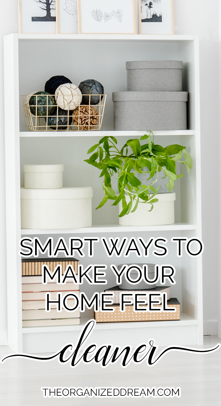 Smart ways to make your home feel cleaner.  #cleaning #hacks #tips