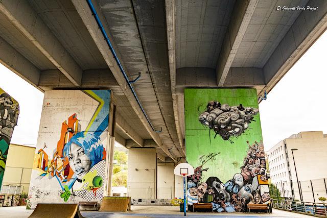 Murales bajo la A8 en Zorroza - Bilbao, por El Guisante Verde Project