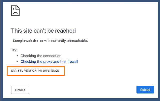 How to fix ERR_SSL_VERSION_INTERFERENCE on Chrome