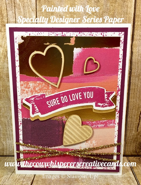 Card, Painted with Love Paper, Sure Do Love You, Valentine
