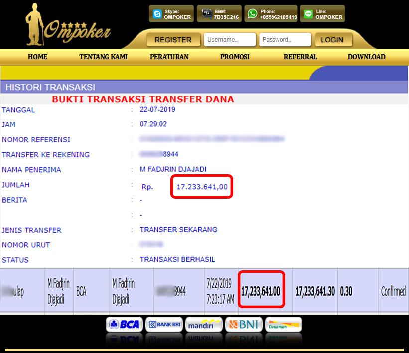 Selamat Kepada Member Setia Ompoker WD Rp 17.233.641