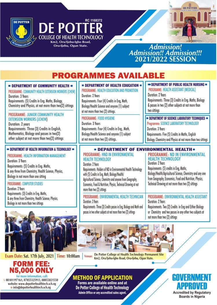 DEPCOHTECH Admission Form 2021/2022 | ND, HND & Diploma