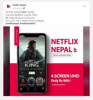 Netflix ad on Facebook