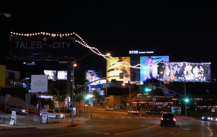 Tales of the City lanterns billboards Sunset Strip night