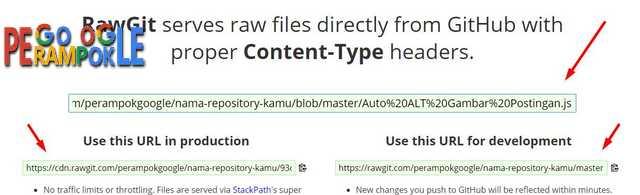 buka rawgit lalu paste link tadi dan ambil link addres js kamu