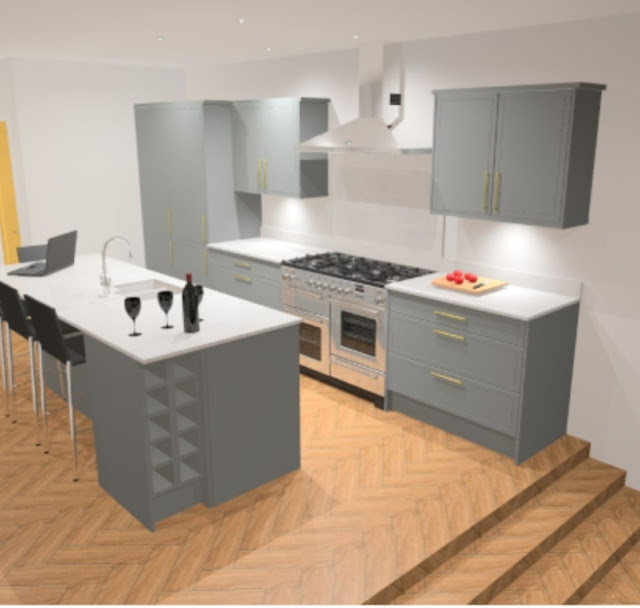3D render new kitchen design by Howdens for Victorian home