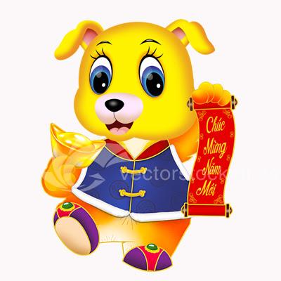Vector Con Chó Vàng 2018. Mừng năm mậu tuất