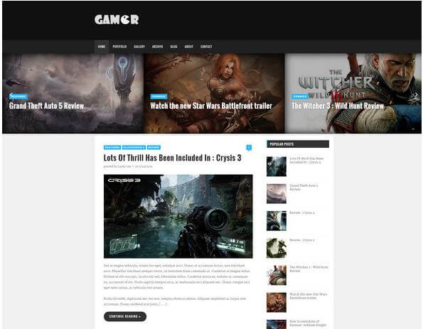 gamer free blogger template