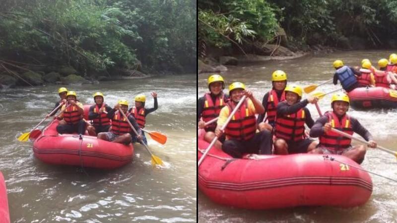 Obama saat mengikuti rafting di Bali