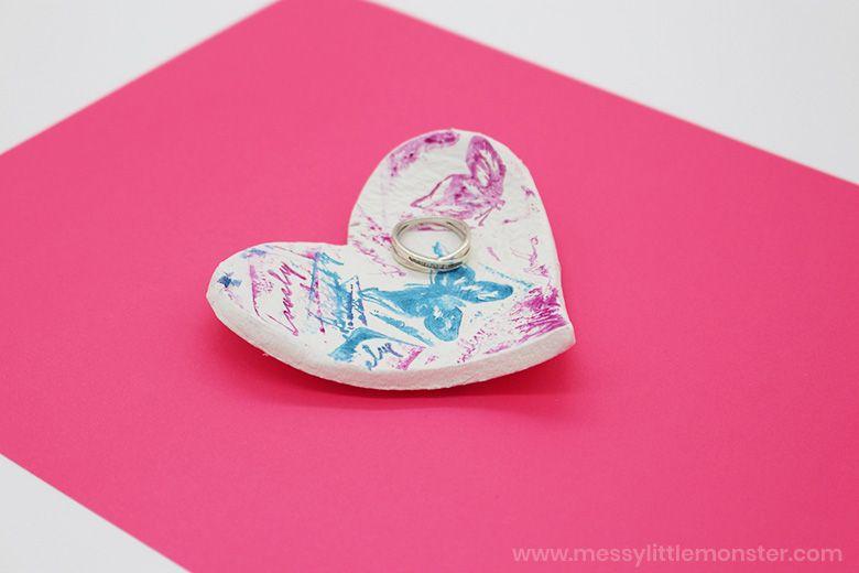 air dry clay bowl heart art