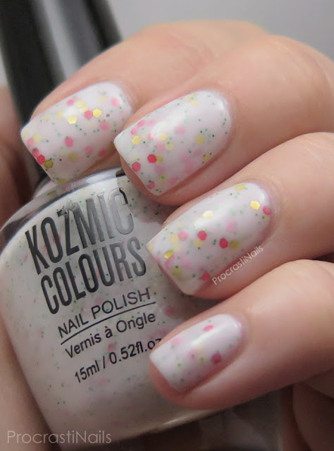 Swatch of Kozmic Colours White Glitter Crelly