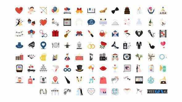 100 Animated Wedding Icons Pack