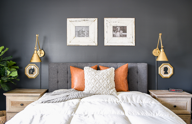 Dark and moody bedroom update, high contrast, modern farmhouse