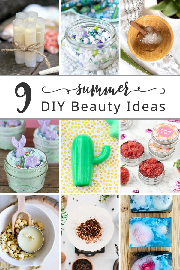 Discover 9 summer-inspired DIY beauty ideas that will keep you looking gorgeous all season long. Some of the beauty recipes make excellent gifts that you can craft to surprise your friends with a thoughtful, seasonal homemade gift. Included are melt-and-pour soap recipes, mermaid bath salts, a solid perfume recipe, a coffee body scrub and an aloe vera face mask, as well as a sunscreen lip balm and strawberry lip scrub.