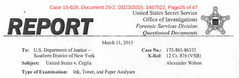 Exhibit C, Secret Service Forensic Report, Mar. 11, 2015, US v. Ceglia, Case No. 15-628, Doc. No. 20-2, Mar. 23, 2015