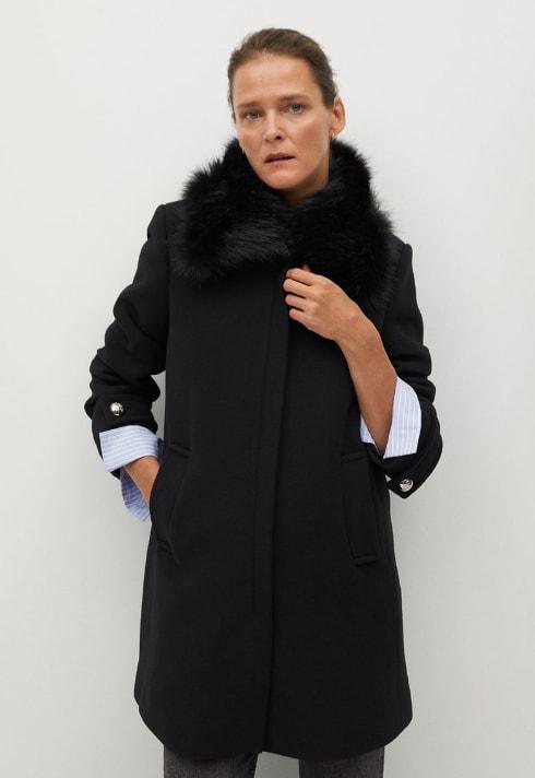 Palton dama negru din amestec de lana cu blana sintetica