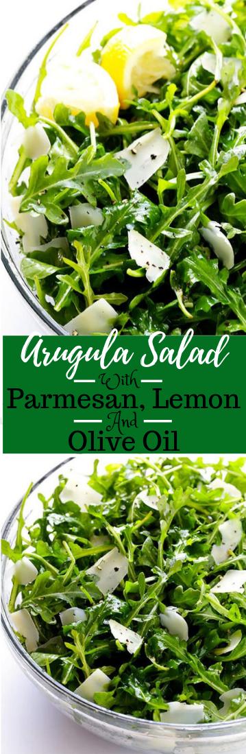ARUGULA SALAD WITH PARMESAN, LEMON AND OLIVE OIL  #vegetarian