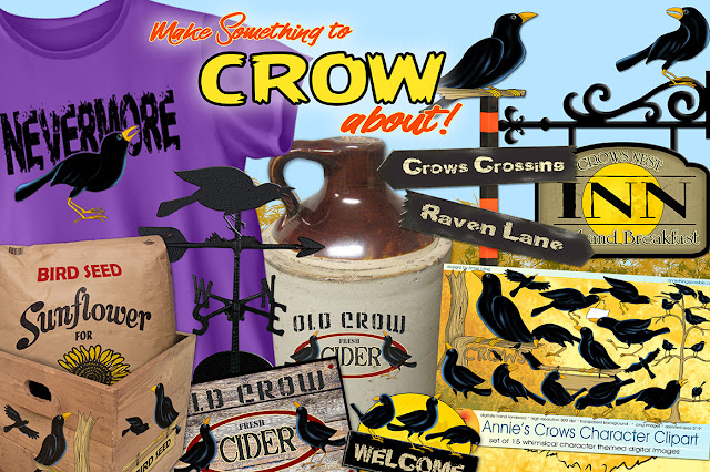 Crow character clipart collection by Annie Lang can only be found at Creative Market
