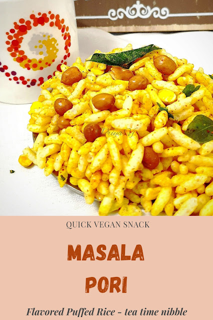 Masala Pori or Khara pori is a snack that can be put together in no time and takes care of the mid evening hunger pangs and is liked by people of all ages .