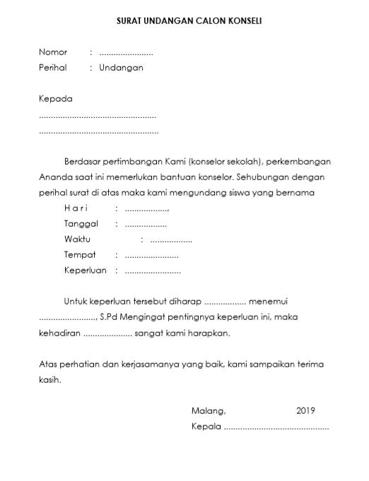 Contoh surat undangan calon konseli