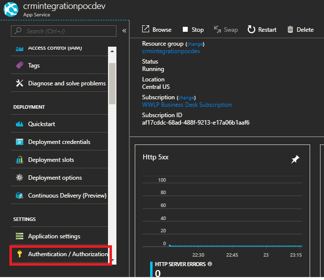 Setting up Azure Active Directory Authentication on Azure
