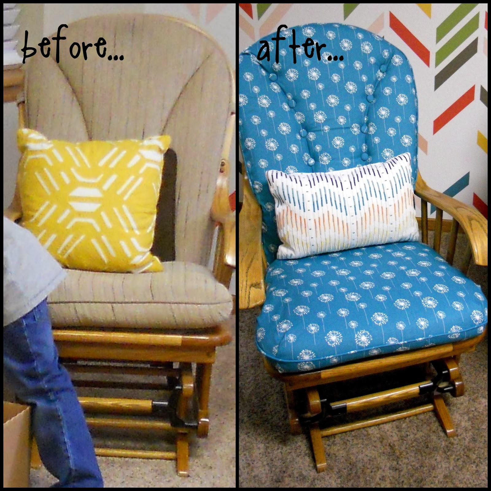 How To Recover Glider Rocking Chair Cushions All Weather Rattan Garden Chairs Just Another Hang Up Recovering For A