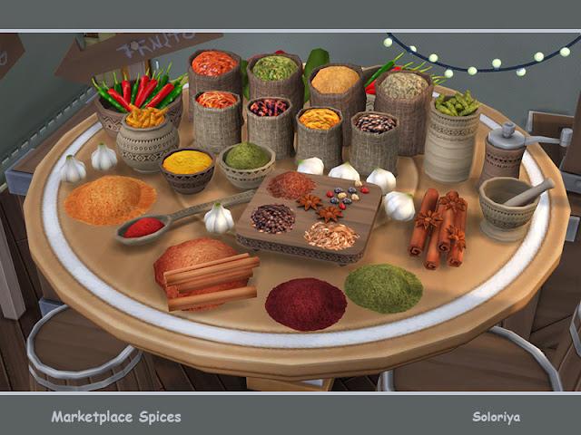 Marketplace Spices Рынок специй для The Sims 4 Набор различных специй для ваших рынков или кухонь. Включает в себя 14 предметов. Категория: Декоративные - Беспорядок для всего. Предметы в наборе: - специи - пять видов специй в разных сосудах - два вида корицы - ложка со специями -- перцы чили - два вида мешков со специями - мельница для перца - Ступка и пестик. Автор: soloriya