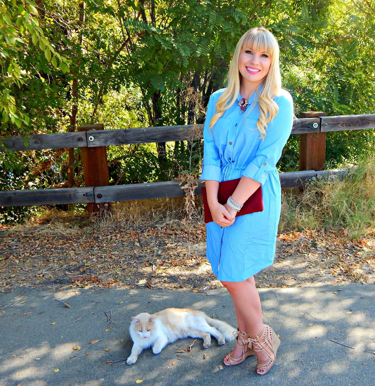 How to Style a Chambray Dress for Fall & Friday Faves Link Up