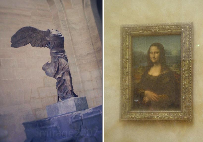 Louvre scuplture Niké en chiton ionique and the Mona Lisa.