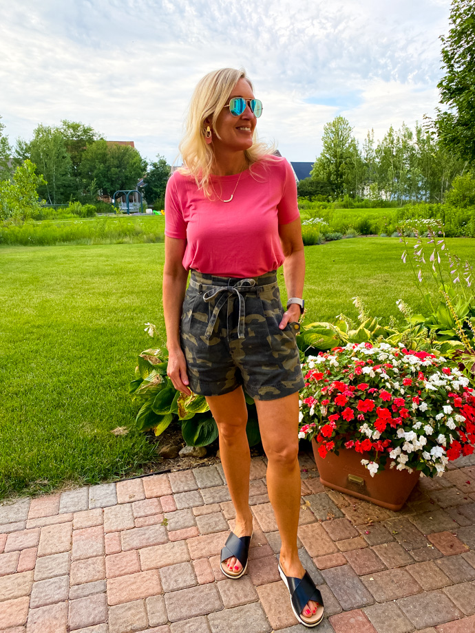 Camo Shorts + Bright Pink Tee Outfit