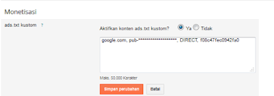 Pada menu monetisasi, aktifkan ads.txt pilih YA