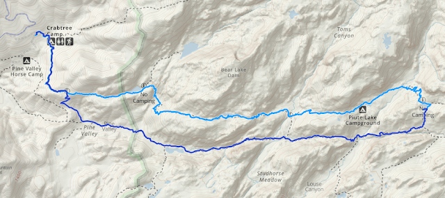 topographic map showing hiking route taken