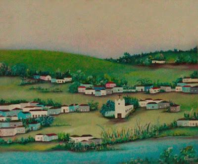 Óleo s/tela - Cidadezinhas das minhas lembranças de infância, pequenas cidades como se vistas a distância e num plano mais alto.
