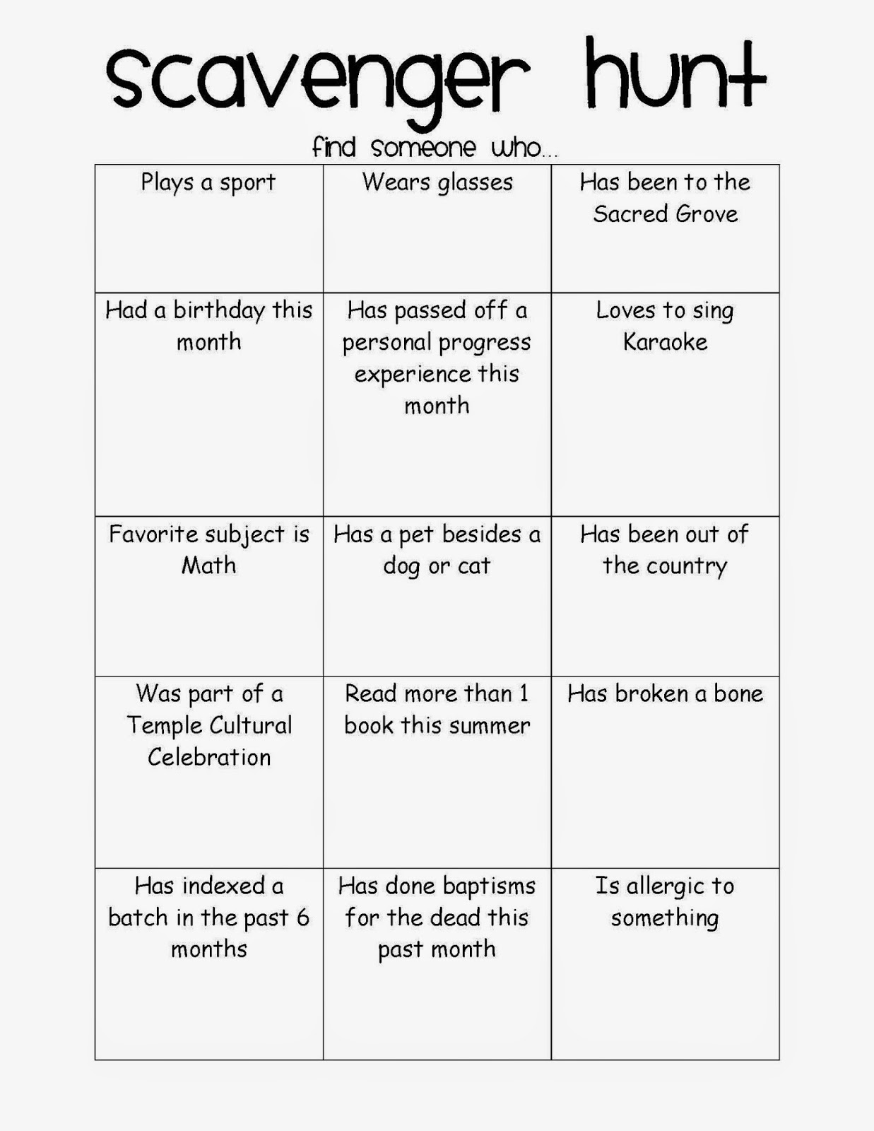Apples 4 Bookworms: Getting to Know You Game~ Scavenger ...