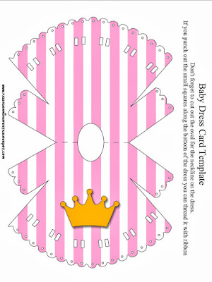 Golden Crown in Pink with Polka Dots: Free Printable Invitations.