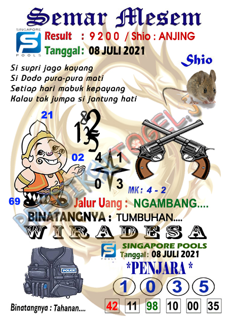 Syair Semar Mesem SGP Kamis 08-07-2021