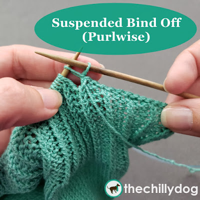 Knitting Video Tutorial -The purlwise suspended bind off is similar to the purled bind off, but with a little extra flexibility