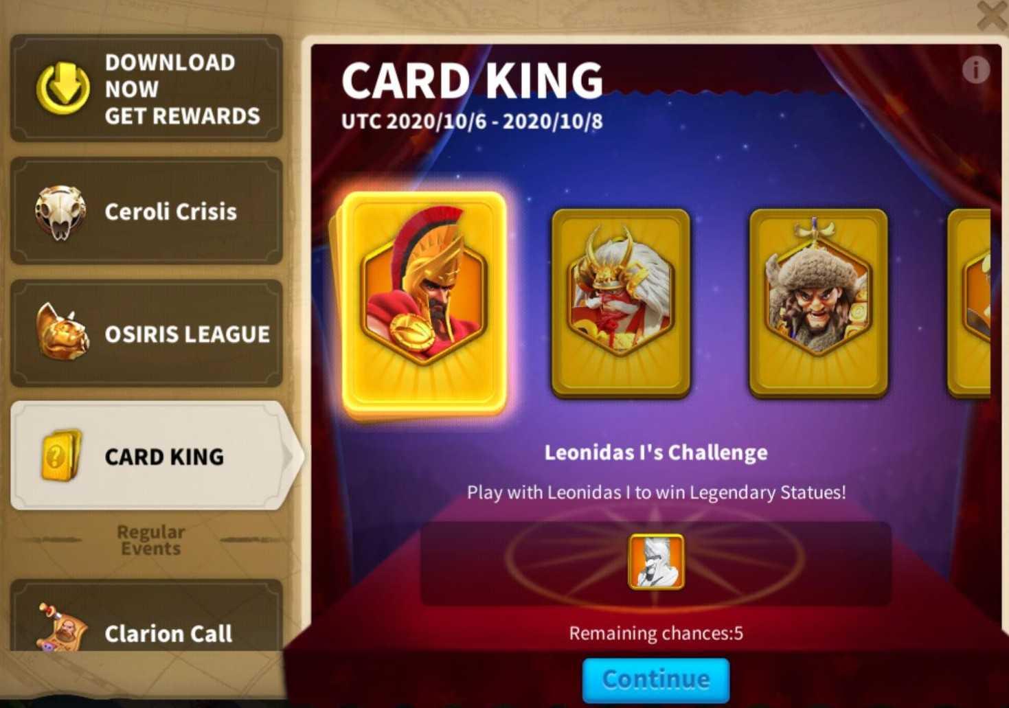 jadwal card king rise of kingdoms
