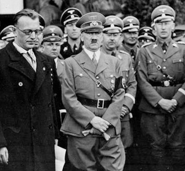Hitler in Vienna with Arthur Seyss-Inquart, Heinrich Himmler, and Reinhard Heydrich. worldwartwo.filminspector.com