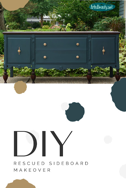 RESCUED ANTIQUE SIDEBOARD BUFFET CUSTOM PAINTED MAKEOVER VENEER REMOVAL DO IT YOURSELF PAINTED BEFORE AND AFTER