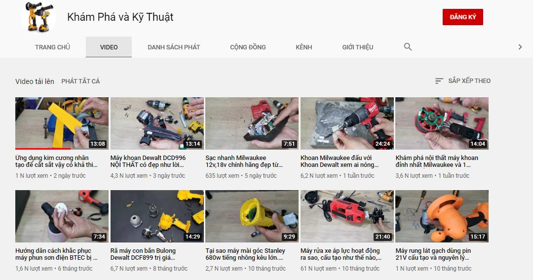 Khám Phá và Kỹ Thuật: Kênh youtube số 1 về tổng hợp kiến thức máy móc, công cụ cầm tay