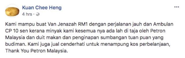 Tawar Khidmat Van Jenazah RM1, Uncle Kuan Dedah Kisah Sedih Disebalik Tawaran Itu