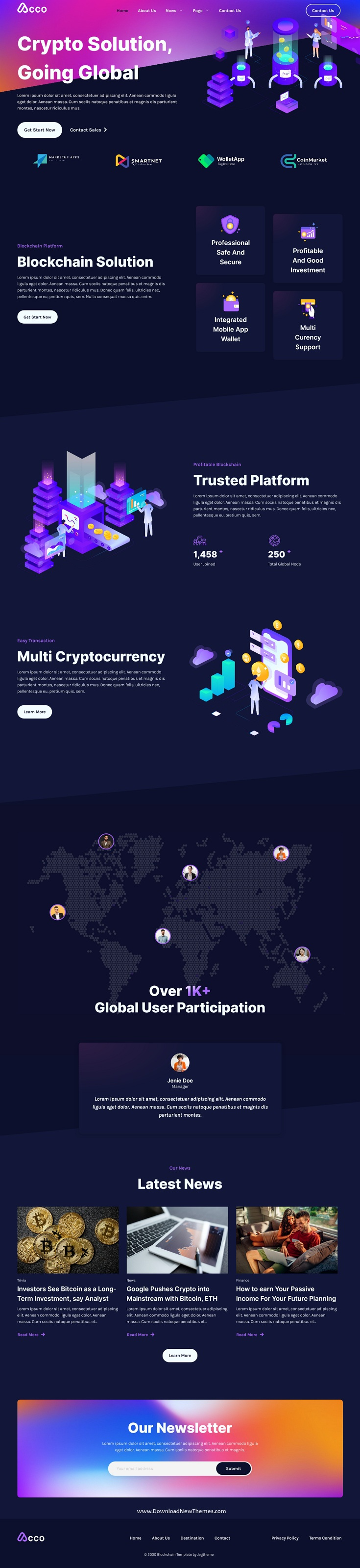 Blockchain Cryptocurrency & Bitcoin Elementor Template Kit